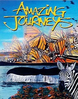 "Promotional grahic for the IMAX presentation of ""Amazing Journeys"" at the Reuben H. Fleet Science Center."