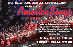 "Promotional graphic for ""America Sings!"" May 21 &22, 2010 at the Poway Center for the Performing Arts."