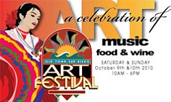Graphic logo for the 2010 Old Town San Diego Art Festival.