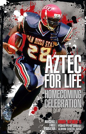 Graphic flyer for the 3rd Annual Aztec For Life Homecoming Celebration on Oct. 15, 2010, presented by the Marshall Faulk Foundation.