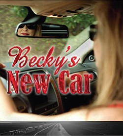 "Promotional graphic for ""Becky's New Car,"" a play by Stev..."