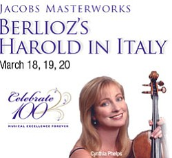 "Promotional graphic for ""Berlioz's Harold In Italy,"" a Jacobs Masterworks concert."