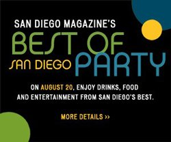 Promotional graphic for San Diego Magazine's Best of San Diego® Party 2010 on Friday, August 20, 2010 from 6:30 p.m. to 9:30 p.m. at the NTC Promenade Arts & Cultural District.