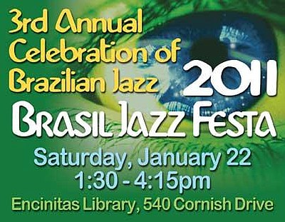 Promotional graphic for the 3rd Annual Brasil Jazz Festa at the Encinitas Library.