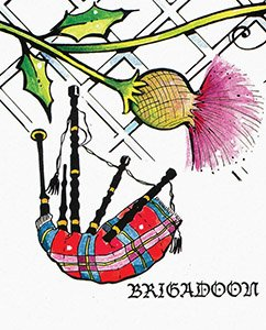 "Graphic image for the play ""Brigadoon."""