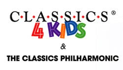 Graphic logo for Classics 4 Kids. Classics 4 Kids is dedicated to using music education as a catalyst to improve academic achievement through professional orchestra concerts and integrated arts curriculum.