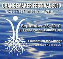 Promotional graphic for the Changemaker Festival 2010 on Sunday, September 26, 2010 from 3 - 7 p.m. in Balboa Park.