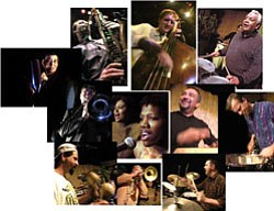 Photomontage of Con Alma, a high energy Latin Jazz Ensemble featuring Glen Fisher on bass, Carlos Vasquez on drums, John Rekevics on saxophone, Lynn Willard on piano, and Yosvany on congas.