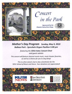Flier for the Concert in the Park event on Mothers Day in Balboa Park.