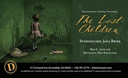 "Promotional graphic for ""The Lost Children,"" a special exhibition by artist Jana Brike running May 8 - June 5, 2010 at Distinction Gallery."
