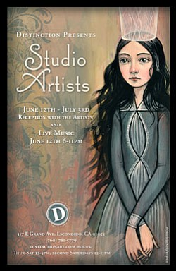 "Promotional graphic for the ""Distinction Studio Artists"" exhibition, featuring the works of 33 of our resident artists at Distinction Gallery, and runs from June 13 to July 3, 2010."