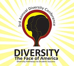 Promotional graphic for the 3rd Annual Diversity Conference at SDSU Aztec Center on Saturday, April 24th, 2010 from 8 a.m. to 4 p.m.