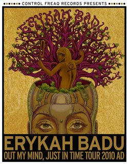 Promotional graphic for Erykah Badu's 2010 North American tour, Out My Mind, Just In Time.