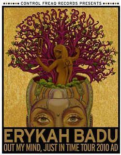 Promotional graphic for Erykah Badu's 2010 North American...