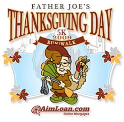 Graphic logo for Father Joe's 2010 Thanksgiving Day 5K Run/Walk.