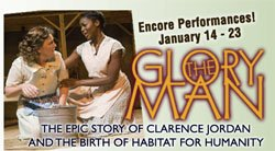 "Promotional graphic for the encore performances of ""The Glory Man"" at Lamb's Players Theatre."