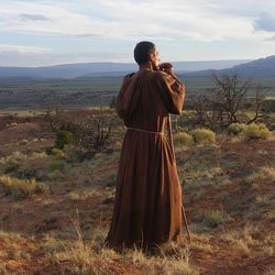 "Promotional image for the PBS series ""God in America."" In New Mexico, Franciscan monks met resistance from native pueblos in the Revolt of 1680. Courtesy of Julie Cresswell © WGBH"