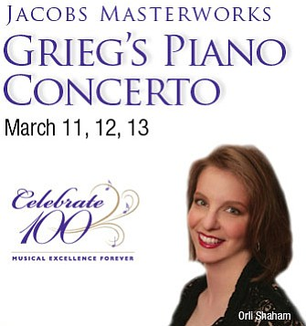 Promotional graphic for Grieg's Piano Concerto - A Jacobs Masterworks Concert.