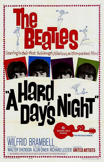 Cover image of the 1964 mockumentary about the members of the Beatles during Beatlemania.