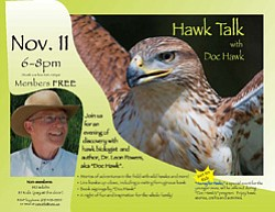 Promotional graphic for a special evening celebrating hawks on Thursday, Nov. 11, 2010 at 6 p.m. at the Chula Vista Nature Center.