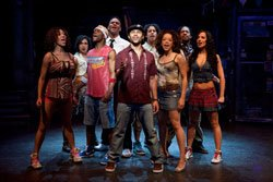 "The cast of ""In The Heights"" perform live on stage. Photo by Joan Marcus"