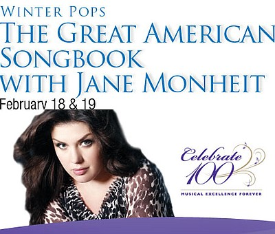 Promotional graphic for Jane Monheit live on Feb 18 & 19 at Copley Symphony Hall.