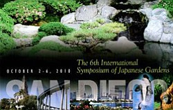 "Promotional graphic for the 6th International Symposium of Japanese Gardens,  ""The Spirit of Japanese Gardens and Japanese Culture,"" which will be held October 2 to 6, 2010 in San Diego, California."
