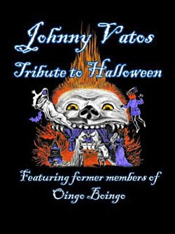 Promotional graphic for Johnny Vato's Dead Man's Party's tribute to Halloween, featuring former members of Oingo Boingo.