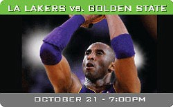 Graphic event image for the Lakers pre-season game agains...