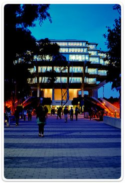 Exterior shot of Geisel Library at the University of California, San Diego.