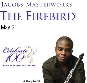 Promotional graphic for the San Diego Symphony's Firebird...