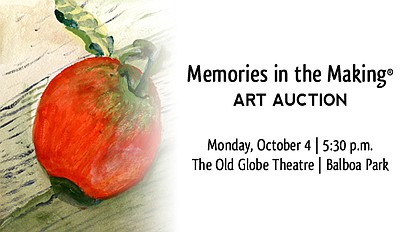 Event graphic for the Alzheimer's Association's art auction, Memories in the Making on Oct 4.