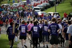 Photo of participants in the annual Mission Federal Memory Walk®. The Alzheimer's Association's Mission Federal Memory Walk is the nation's largest event to raise awareness and funds for Alzheimer care, support and research programs.