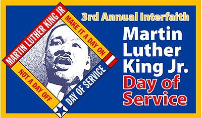 Graphic flyer for the 2011 MLK Jr. Day of Service in Balboa Park.