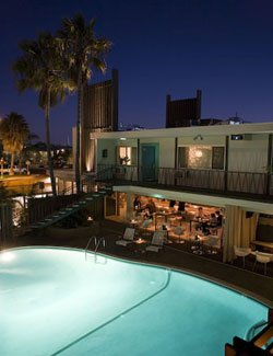Exterior shot of the Dive-In Theatre at The Pearl Hotel, located at 1410 Rosecrans St., San Diego, CA 92106.