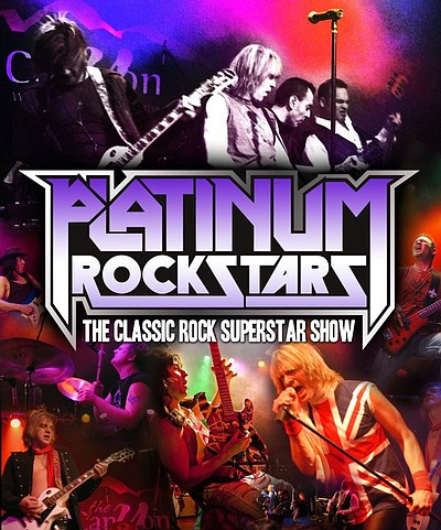 Graphic image for the Los Angeles-based high intensity 70s and 80s rock tribute show, Platinum Rockstars.