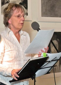"Image of Rae Armantrout reading from her Pulitzer Prize winning book, ""Versed."""
