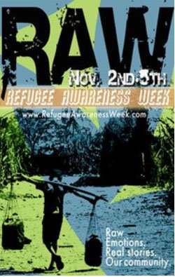 Graphic flyer for the Refugee Awareness Week at SDSU.
