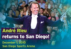 Promotional graphic for the Andre Rieu concert on Decembe...