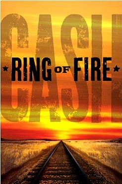 "Promotional graphic for ""Ring of Fire: The Johnny Cash Musical Show"" featuring original Broadway star Jason Edwards at the California Center for the Arts in Escondido."