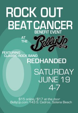Promotional graphic for the Rock Out Beat Cancer benefit concert featuring classic rock band Redhanded, at the Belly Up Tavern on Saturday, June 19, 2010 from 4 p.m.  - 7 p.m.