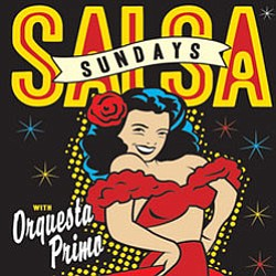 Promotional graphic for Salsa Sundays with local salsa band Orquesta Primo at the Belly Up Tavern.