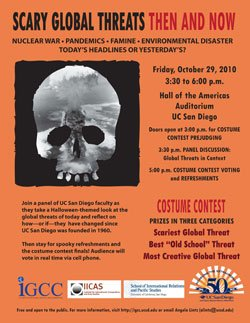 Promotional graphic for the Scary Global Threats Forum & Costume Contest on October 29, 2010, presented by UC Institute on Global Conflict and Cooperation with UC San Diego faculty.