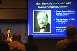 "Image of a presenter at a ""Perspectives on Ocean Science"" lecture."
