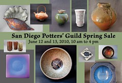 Promotional graphic for the San Diego Potters' Guild's Spring Patio Sale on June 12 & 13, 2010.