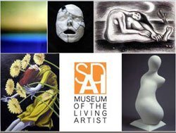 Promotional graphic for the San Diego Art Institute: Museum of the Living Artist, located in Balboa Park at 1439 El Prado, San Diego, CA 92101.