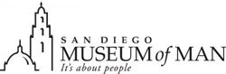 Graphic logo for the San Diego Museum of Man, located in Balboa Park at 1350 El Prado, San Diego, CA 92101.