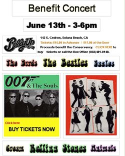 Web graphic for the SDRVC's Benefit Dance Party/Concert at the Belly Up.