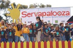 Photo of youth and adult volunteers at Servapalooza, an annual festival and service-thon in honor of Global Youth Service Day.