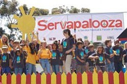 Photo of youth and adult volunteers at Servapalooza, an a...
